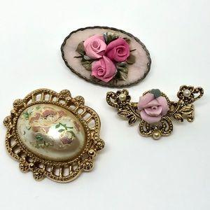 🆕Vintage Petite Romantic Rose Pin Trio